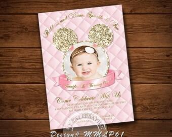 MINNIE MOUSE INVITATIONS, Birthday Invitation, Light Pink, Photo Invitation, My Celebration Shoppe, Printable Invitation, Chalkboard