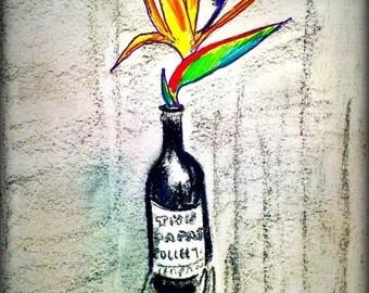 Bottle vase, flower bird