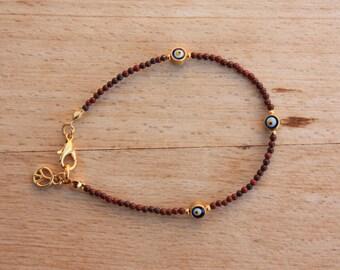 Evil Eye Bracelet, Tiny Natural Jasper&18k Gold Filled  Evil Eye Friendship, Turkish Jewelry