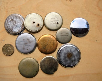 Antique pocket watch case lids / old watch clock parts caps / industrial jewelry / altered art collage Steampunk Supplies steampunk Pw12a