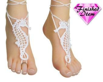 Crochet Barefoot sandals | beach wedding | SEAHORSE | White