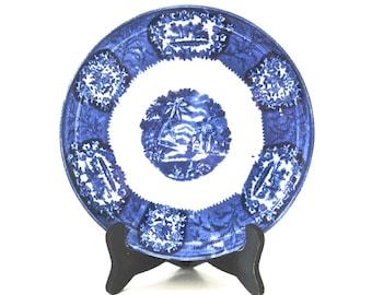 Antique Flow Blue Plate • Franz Anton Mehlem MALTA Ceramic Pattern • Bonn Germany • BONUS Stand