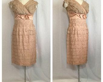 Vintage 1950's Layered Lace Smokey Pink Hourglass Dress