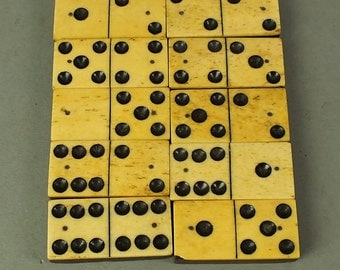 antique Domino game with 28 stones from France