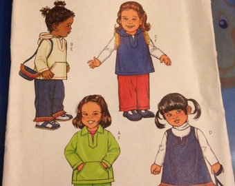 UNCUT 4010 Butterick Pattern Easy Toddler Clothes