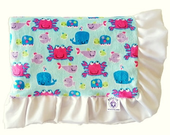 Under the Sea Baby Blanket / Blue and White / Baby Blanket / Soft Minky and Satin Ruffles