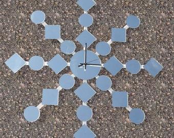 Retro Midcentury Mirrored Clock Wall Art