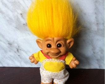 Troll Doll . Forest Plastic Troll Doll with Yellow Hair