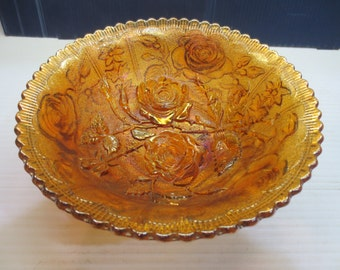 Imperial Luster Rose Carnival Glass Bowl Marigold Open Iridescent