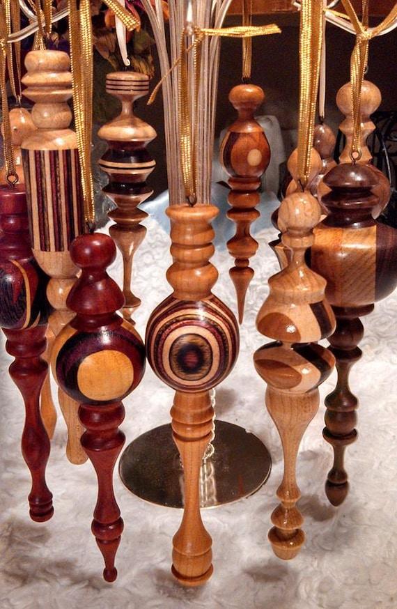 Handmade wood turned christmas ornaments custom by