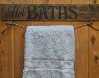Hot Baths, Rustic, Towel Holder, Bathroom Sign, Wood Bath Sign, Bath Quotes, Bath Towel Holder, Rustic Decor, Farmhouse, Organization