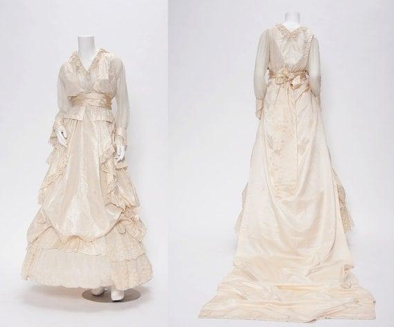 Edwardian Silk Wedding Dress Vintage 1900s Revival Vintage