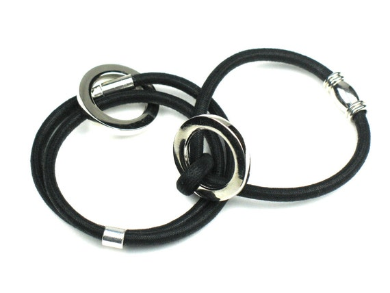 Wrap Bracelet in Black and Silver with Mokuba Cord and Metal Accent Ring