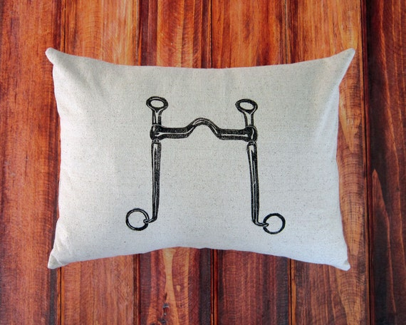 Equestrian Pillow Cover fits 12 x 16 pillow- handprinted Long Shank Curb Bit- Choose Cover Only or with Pillow Form