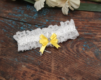 Brides Wedding Garter - With Hand Made Bow - Yellow Wedding Garter (All Colours Available)