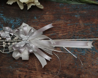 Silver Flower Girl Wand - Silk & Organza Ribbon - Silver (Other Colours Available) - Flower Girl Accessories