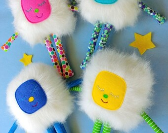Stuffed Monster, Soft Monster Toy, White Furry Monster, Monster Plushie