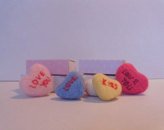 Needle felted love hearts,personalised hearts,Wedding favours,love hearts,neele felted
