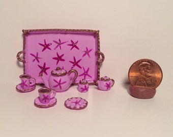 Miniature Tea Set in Lavender with Starfish