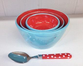 Aqua and Red Bowl Set, Ceramic Stoneware Nesting Bowls, Wild Crow Farm Pottery