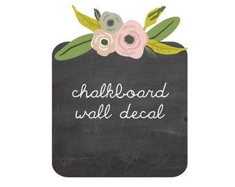 Chalkboard and flowers wall decal eco fabric wall decals