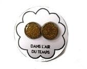 Glitter earrings, glitter stud earrings, gold glitter stud, glitter posts earrings, sparkly jewelry, gold stud, resin , glitter jewelry