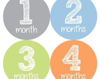 Baby Month Stickers Boy, Monthly Baby Boy Stickers, Baby Month Milestone Stickers  - Baby Boy, Baby Shower Gift, Grey, Blue, Orange, Green