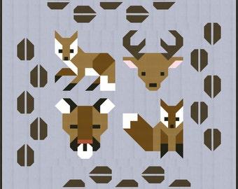 MINI Forest Friends Quilt block Pattern, PDF, Instant Download, forest animals, fox, deer, woodland, hunter, animal lover, modern patchwork