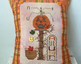 Autumn pumpkin Halloween basket cross stitch pillow, finished, completed
