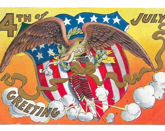 Fourth of July Explosive Greetings Postcard, c. 1910