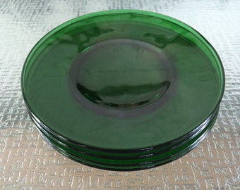 Anchor Hocking Glass Forest Green Dessert Plates