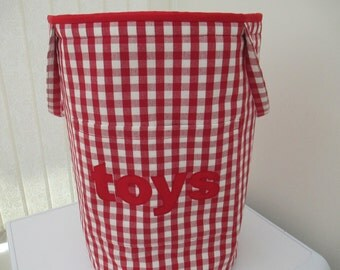 Toy storage/laundry storage/kids toy bag/nursery storage/playroom tidy in Laura Ashley red gingham