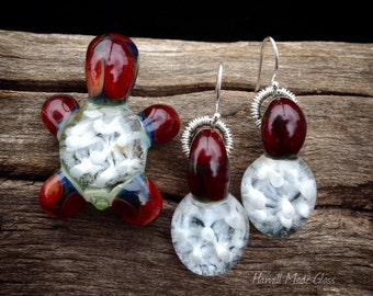 "SALE! Handblown ""Body & Spirit"" Turtle Pendant And Hypo Allergenic Earring Set"