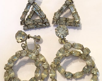 Lot of 2 Showgirl Vintage Rhinestone Screwback Front Back Earrings