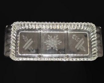 Vintage, Glass, Crystal, Relish, Condiment, Tray, Etched, Base, Flower, Flowers, Floral, Snacks, Candy, Tidbit, Snack, Retro