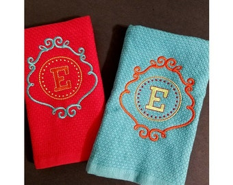 Monogrammed Kitchen Dish Towels - Set of 2 - Personalized Kitchen Towels - Gift Towels - Initial Towels - Kitchen Towels
