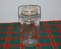 Small, Vintage, Wheaton canning jar with wire bail and glass lid