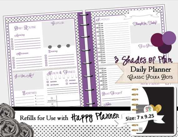 Calendar Planner Refill Pages : Happy planner printable refills daily calendar pdf