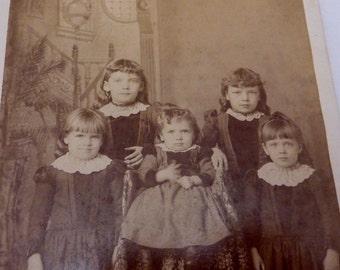 1895 Cabinet Card Photograph 5 Posed Children Hutchinson MN Gravenslund 22206