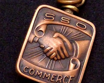 Vintage 1949 Balfour SSO Commerce Hand Shaking Bronze Patina Metal Charm 22010