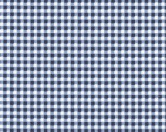 Navy Blue Gingham - Beautiful Basics by Maywood Studio - 1/4 inch gingham, navy gingham, blue plaid, modern geometric blue fabric