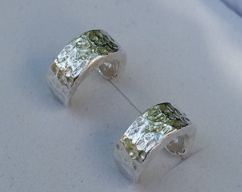 Small Silver Hoops ,Silver Hoop Earrings ,Sterling Silver 925 Stud Earrings ,Handmade Hoops ,Hammered Hoop Earrings ,Women Hoop Earrings