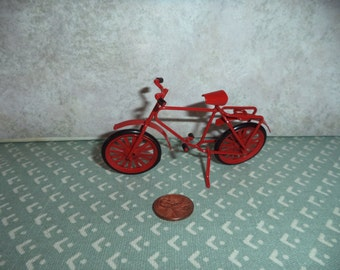1:12 Dollhouse Miniature or Fairy garden small bicycle (Red)