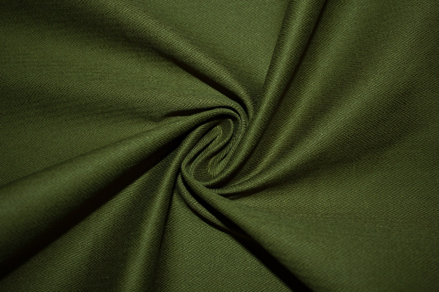 Olive stretch twill 7 herringbone cotton bottom weight for Apparel fabric