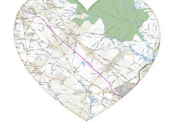 Digital Download Atlantic City Heart map city art modern wedding gift
