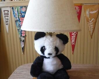 Lamp, Table Lamp, Panda Bear, Animal Lamp, Stuffed Animals, Nursery Decor, Desk Lamp, Bedroom Lamps, Vintage Lamps, Childrens Lamps,Lighting