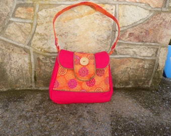 Hot Pink and Orange Floral shoulder bag; Ready to ship