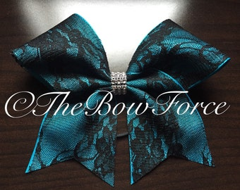 Black Lace Teal Base Cheer Bow