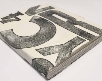 Handmade sketchbook with letterpress print cover