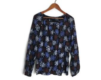 90s floral grunge top // 90s floral smock top // 90s grunge top // loose fitting black floral top // vintage tunic smock top